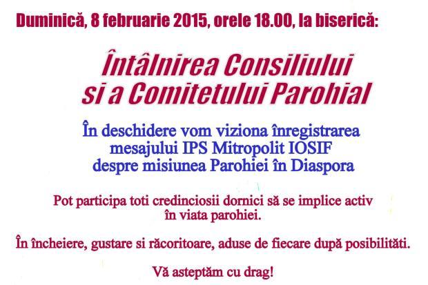 anunt Consiliul Parohial 8 feb 15